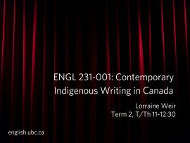 ENG 231-001, Contemporary Indigenous Writing in Canada
